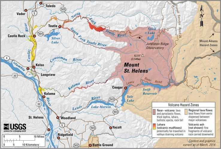 Mount St. Helens hazard map